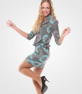 Printed half sleeve jumper dress