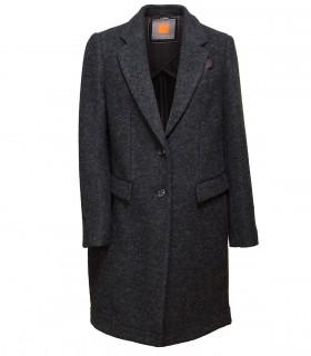 Women's classic felt coat with leather