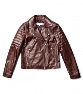 Military style long sleeves leather jacket