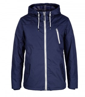 Stand collar zip front hooded jacket in blue