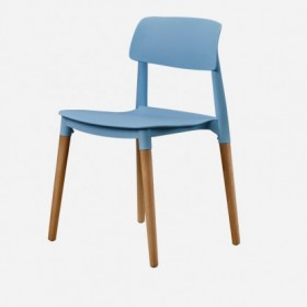 Blue chair with wood base