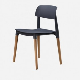 Black chair with wood base
