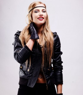 Faux leather biker zip-up jacket with pockets
